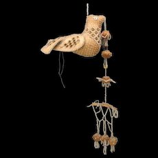 1906 Beaded Iroquois sewing bird pincushion holding hanging branch