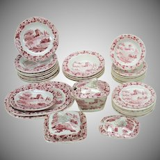 1840's pearlware miniature child's dinner set Late Hackwood 35 pieces