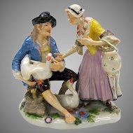 Finest quality antique porcelain figure or figural group of a goose seller
