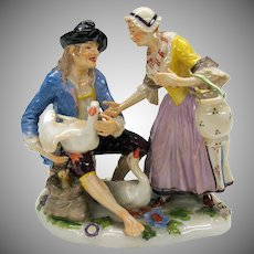 Finest quality antique porcelain figure or figural group of a goose seller