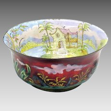 Large Viennese enamel bowl with interior scenic decoration and blown out scenes on outside