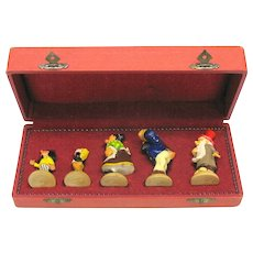 Vintage presentation set Katzenjammer Kids painted wood figures American comic strip