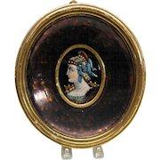 Antique larger enamel portrait plaque in oval frame