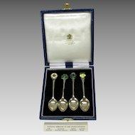 Set sterling silver & enamel teaspoons for Mappin & Webb. England, Wales, Ireland Scotland