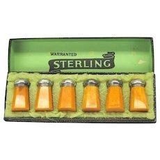 Art Deco set of 6 sterling silver and bakelite Salt & Pepper shakers