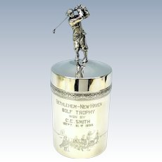 Figural Wilcox silver plate Golfing or Golf humidor all around golf scenes