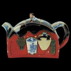 Unusual Japanese Sumida Gawa pottery teapot signed
