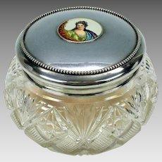 Gorham sterling silver & cut glass dresser jar with enamel portrait