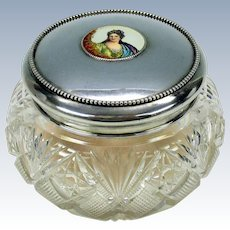 Gorham sterling silver & cut glass dresser jar with enamel portrait