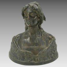 Larger Art Nouveau bronze bust of Desdemona by M. LeBlanc France