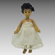 "4"" all bisque black barefoot Mignonette doll"