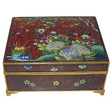 Fine Meiji period Japanese cloisonne dresser box with goldstone