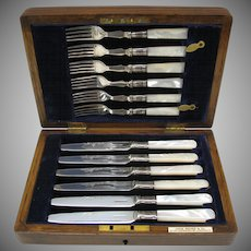 Service for 6 Antique mother of pearl silverplate knives forks in case