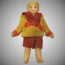 """Carl Horn all bisque boy doll in red/white sailor suit 1 3/4"""""""