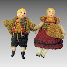 """Pair of antique Carl Horn all bisque dolls original outfits 1 1/2"""""""