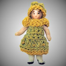 """Antique Carl Horn all bisque doll in original crocheted outfit with bonnet 1 1/2"""""""