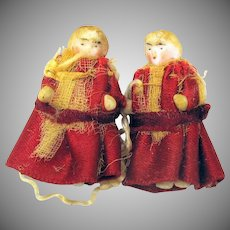 Tiniest pair finely dressed antique miniature frozen charlotte dolls for dollhouse