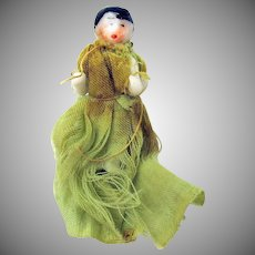 "Antique miniature dollhouse frozen charlotte doll in blue dress 1"""
