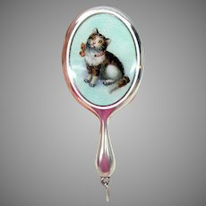 Antique miniature silver & enamel Cat kitten hand mirror