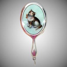 Antique miniature silver & enamel Cat kitten hand mirror
