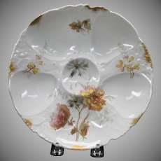 Antique Austrian porcelain oyster plate with flower decoration