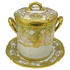 Lavish Art Nouveau Noritake Nippon porcelain condensed milk jar with under plate