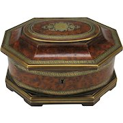 Fine 19th Century Tahan Paris inlaid burl wood jewelry box dresser casket