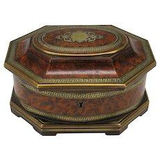 Fine 19th Century Tahan Paris inlaid burl wood jewelry box dresser casket