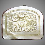 Victorian carved mother of pearl coin purse