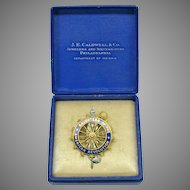 Daughters of the American Revolution 14k and enamel pendant or brooch Original box