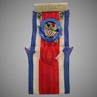 Sterling silver & enamel Children of the American Revolution pin medal President