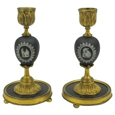 Early pair black Wedgwood jasper marble & gilt bronze candlesticks