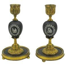 Early pair black Wedgwood jasper marble & gilt bronze candlesticks