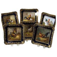 Set 6 Masterpiece paintings on Haviland Limoges porcelain plates- rare Hen Chicken breeds Set A