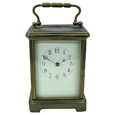 Antique French brass & glass carriage clock