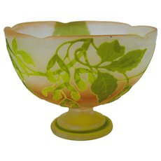 Emile Galle pedestal footed cameo glass center bowl with Mistletoe
