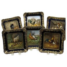Set 6 painted porcelain Haviland Limoges Rare Hen breed plates-masterpieces #B