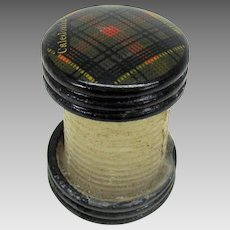 Tartanware wax body thread winder holder or spool Caledonia tartan