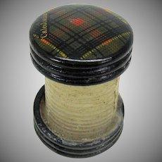 Tartanware wax body thread winder holder or spool Caledonia tartan