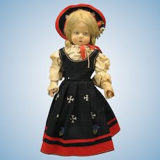 "19"" Lenci felt doll side glancing with original outfit"