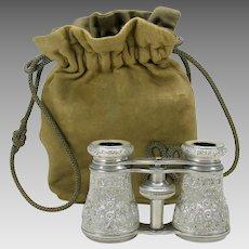 Best antique repousse aluminum opera glasses with leather bag case