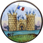 1789 French Historical enamel Button-Storming of the Bastille