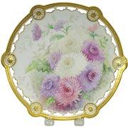 1896 Limoges Elite reticulated cabinet plate-handpainted Chrysanthemums