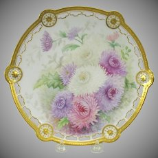 1896 Limoges Elite reticulated cabinet plate-handpainted Chrysanthemums
