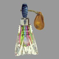 Vintage 50's rainbow glass perfume bottle atomizer