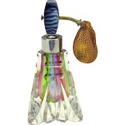 Vintage 50's rainbow glass perfume bottle atomizer