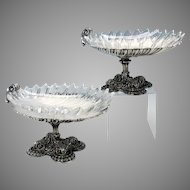 Incredible 1841 Elkington silvered bronze shell & glass centerpiece tazza compotes