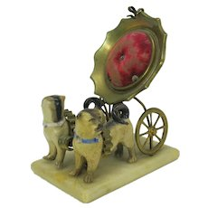 19th Century Grand Tour double porcelain pug dog & carriage watch holder