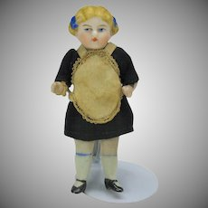 Antique German all bisque doll-all original maid outfit