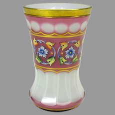 Antique Moser pink overlay glass decorated water goblet